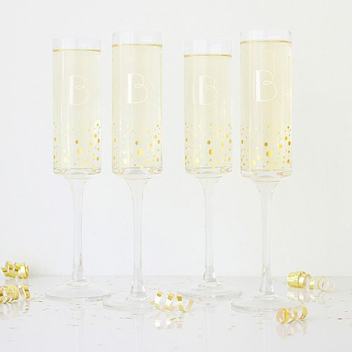 Cathy's Concepts 4-pc. Monogram Gold-Dotted Champagne Flute Set