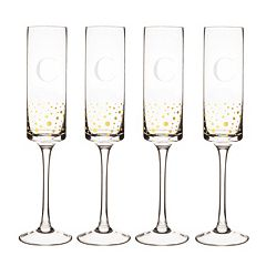 Cathy's Concepts 4 pc Monogram Gold-Dotted Champagne Flute Set