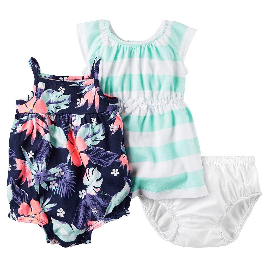 Baby Girl Carter's Floral Romper & Striped Dress Set