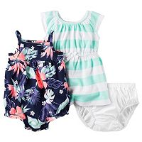 Baby Girl Carter's Floral Romper & Striped Dress Set