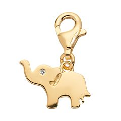 TFS Jewelry 14k Gold Over Cubic Zirconia Elephant Charm