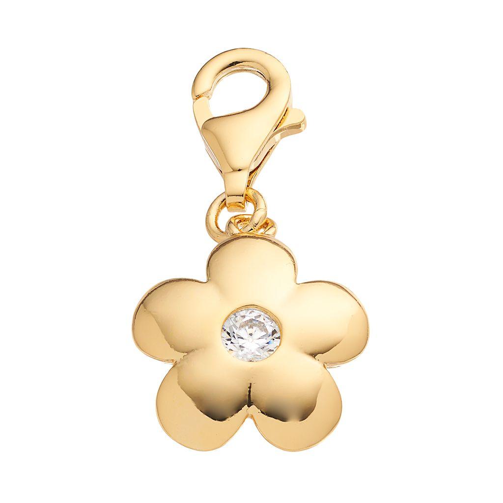TFS Jewelry 14k Gold Over Cubic Zirconia Flower Charm