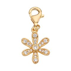 TFS Jewelry 14k Gold Over Cubic Zirconia Floral Charm