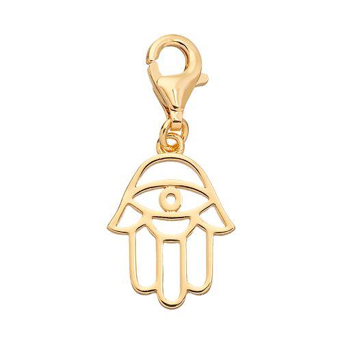 TFS Jewelry 14k Gold Over Silver Hamsa Charm