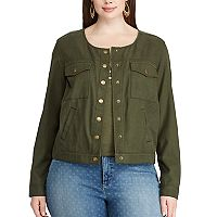 Plus Size Chaps Crop Twill Jacket