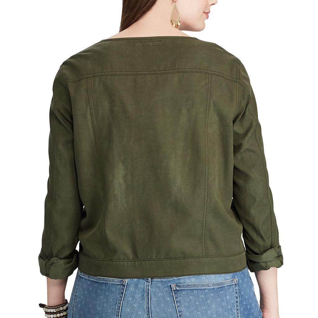 Plus Size Chaps Crop Twill Jacket