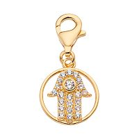 TFS Jewelry 14k Gold Over Cubic Zirconia Hamsa Charm