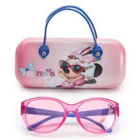 Disney's Minnie Mouse Girls 4-6x Oval Sunglasses & Case Set