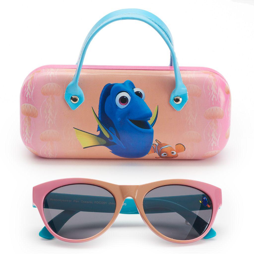 Disney / Pixar Finding Dory Girls 4-6x Dory & Nemo Retro Square Sunglasses & Case Set