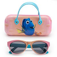 Disney / Pixar Finding Dory Girls 4-6x Dory & Nemo Retro Square Sunglasses & Case Set