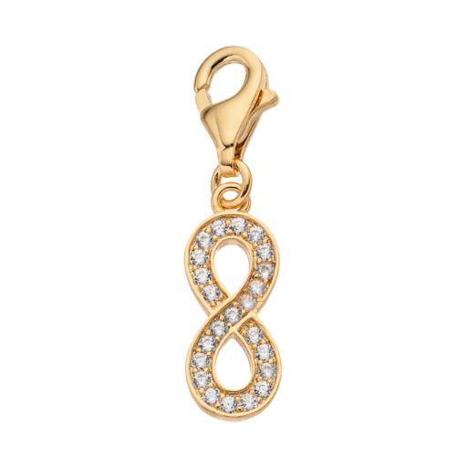 TFS Jewelry 14k Gold Over Cubic Zirconia Infinity Charm