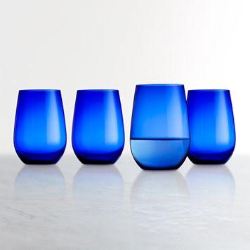 Food Network™ Cobalt Blue 4-pc. Stemless Wine Glass Set