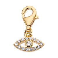 TFS Jewelry 14k Gold Over Cubic Zirconia Evil Eye Charm