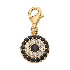 TFS Jewelry 14k Gold Over Black & White Cubic Zirconia Eye Charm