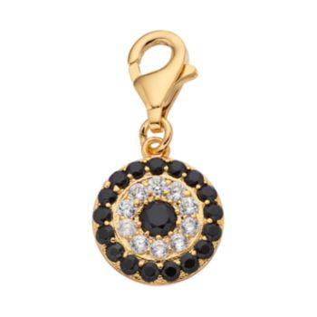 TFS Jewelry 14k Gold Over Black & White Cubic Zirconia Eye Charm