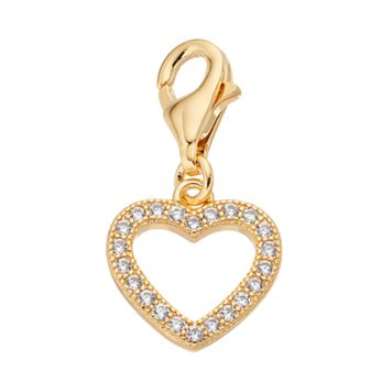 TFS Jewelry 14k Gold Over Cubic Zirconia Heart Charm