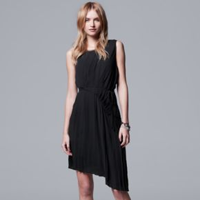 Women's Simply Vera Vera Wang Pleated Asymmetrical Shift Dress