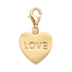 """TFS Jewelry 14k Gold Over Silver """"Love"""" Heart Charm"""
