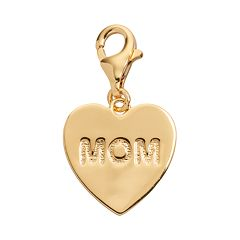 TFS Jewelry 14k Gold Over Silver 'Mom' Heart Charm