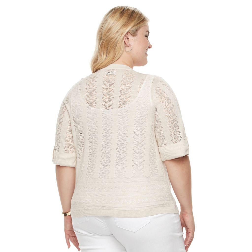 Plus Size Croft & Barrow® Geometric-Stitch Cardigan