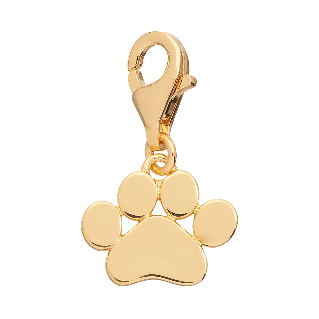 TFS Jewelry 14k Gold Over Silver Paw Charm