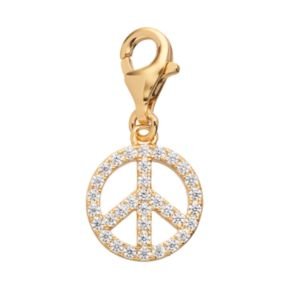 TFS Jewelry 14k Gold Over Silver Cubic Zirconia Peace Sign Charm