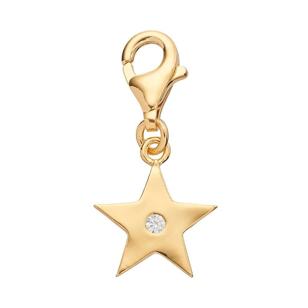 TFS Jewelry 14k Gold Over Cubic Zirconia Star Charm