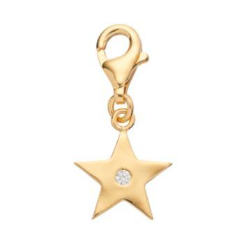 TFS Jewelry 14k Gold Over Cubic Zirconia Star Charm