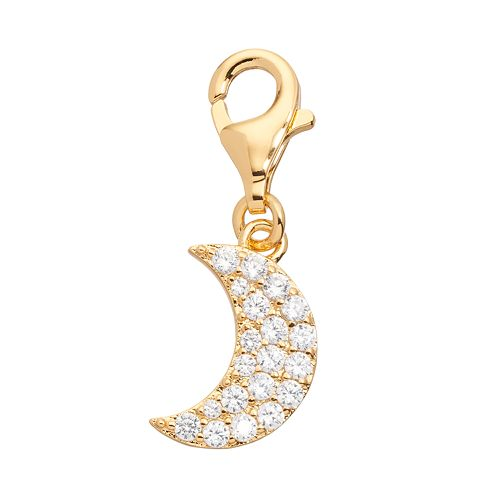 TFS Jewelry 14k Gold Over Cubic Zirconia Moon Charm