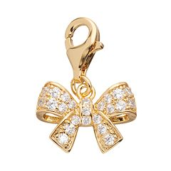 TFS Jewelry 14k Gold Over Cubic Zirconia Bow Charm
