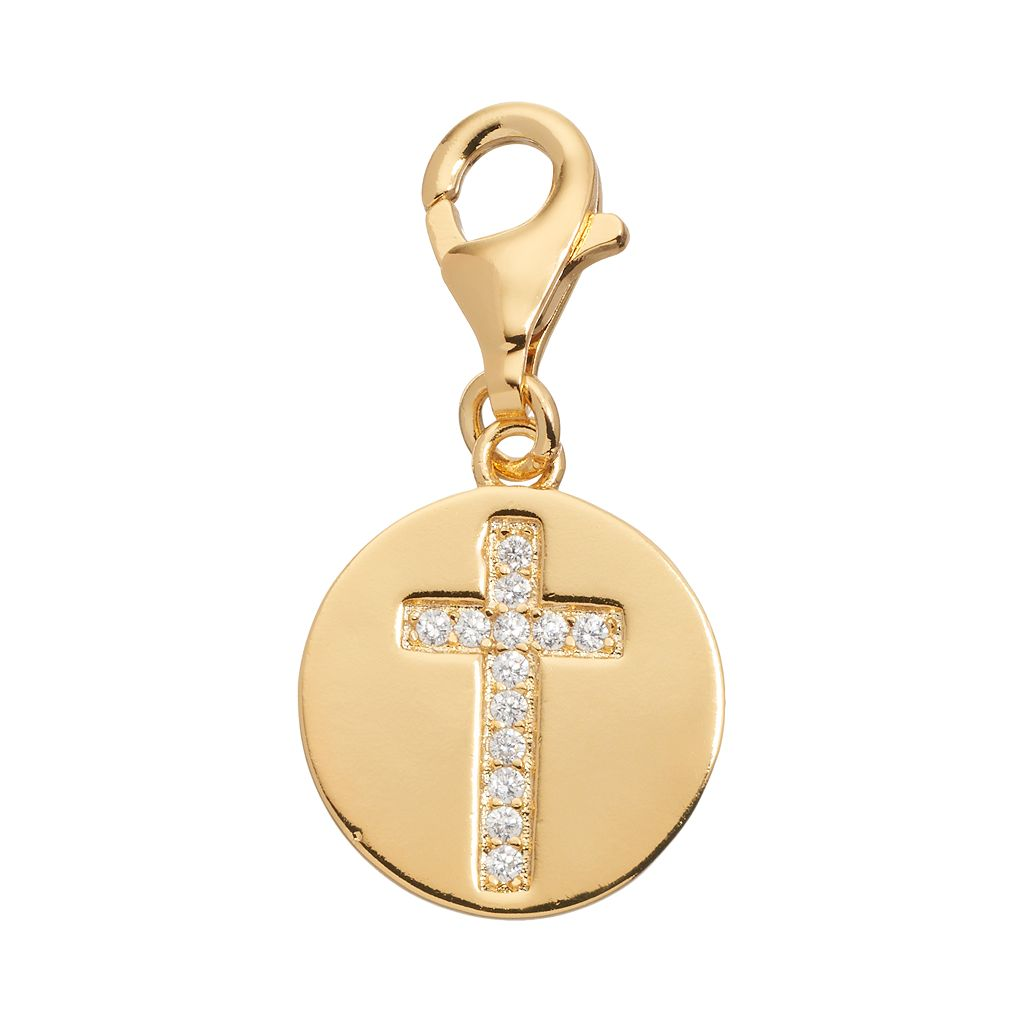 TFS Jewelry 14k Gold Over Silver Cubic Zirconia Cross Disc Charm