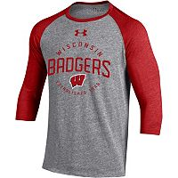Men's Under Armour Wisconsin Badgers Triblend Baseball Tee