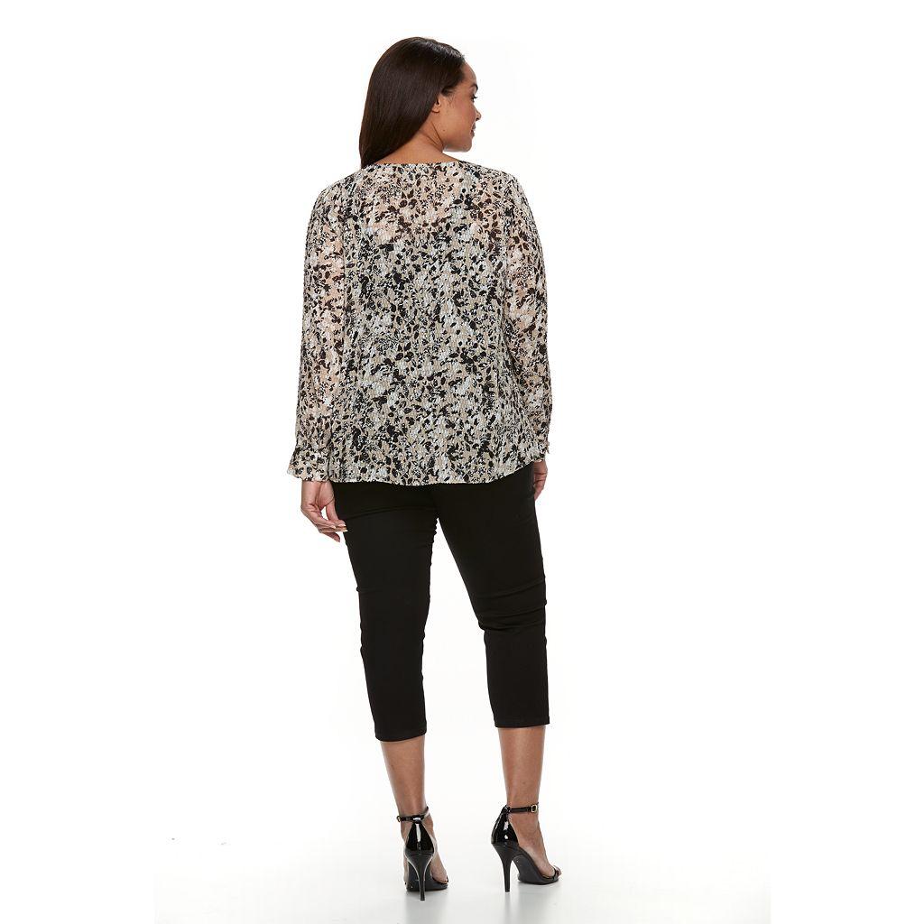 Plus Size Dana Buchman Sheer Splitneck Blouse