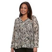 Plus Size Dana Buchman Sheer Splitneck Blouse