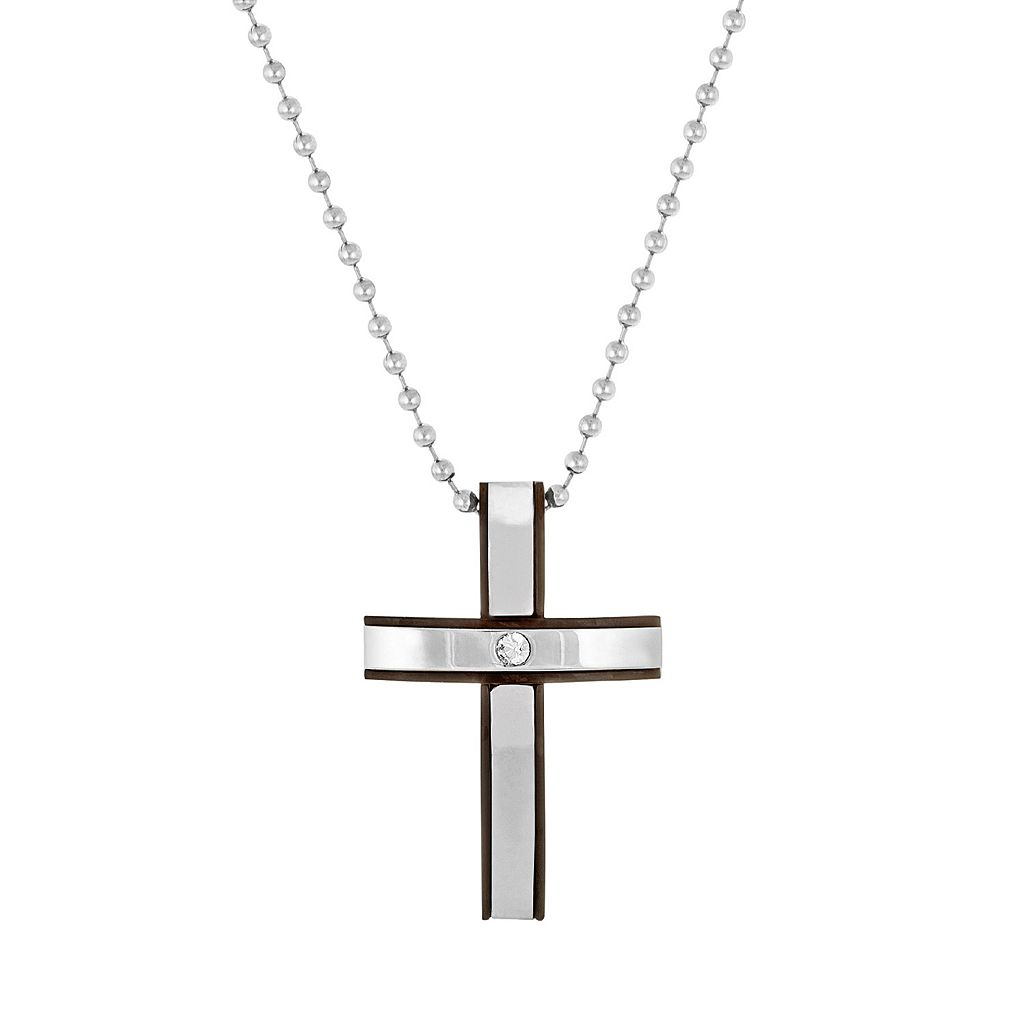 1913 Men's Two Tone Stainless Steel Crystal Cross Pendant Necklace