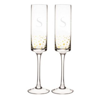 Cathy's Concepts 2-pc. Monogram Gold-Dotted Champagne Flute Set