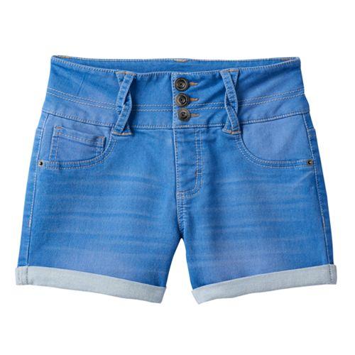 7-16 & Plus Size SO® Braided Belt Loop High-Waist Jean Shorts