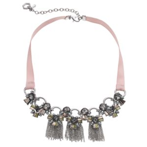 Simply Vera Vera Wang Ribbon Stone Cluster Fringe Necklace