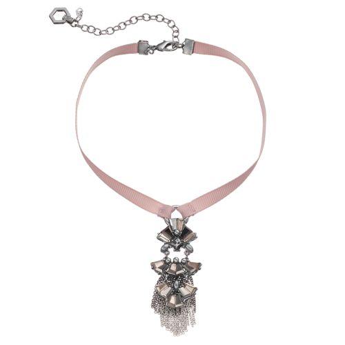 Simply Vera Vera Wang Ribbon Stone Cluster Fringe Choker Necklace
