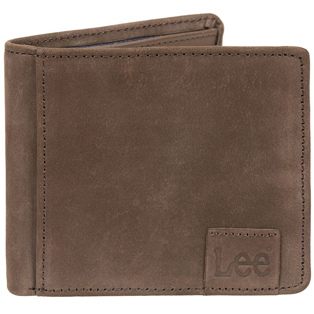 Men's Lee RFID-Blocking Nubuck Leather Bifold Wallet