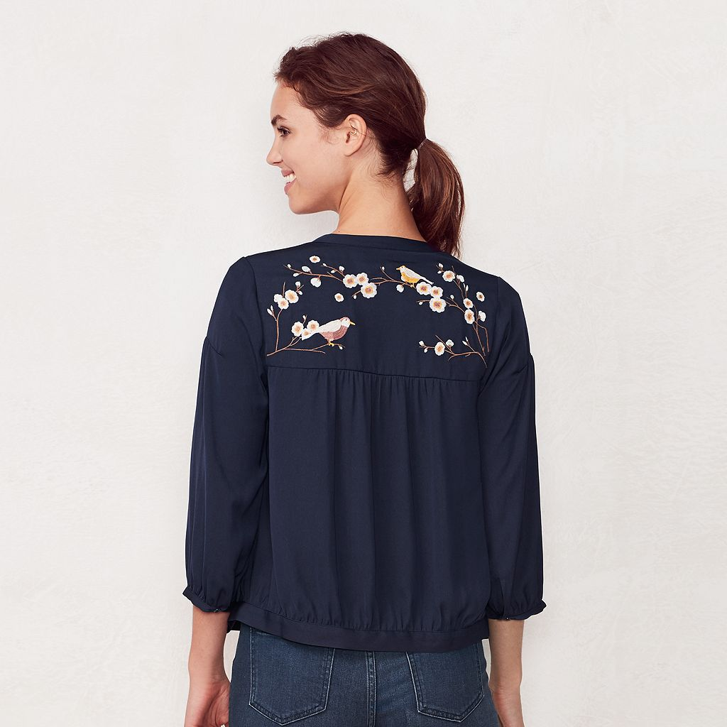 Women's LC Lauren Conrad Embroidered Bomber Jacket