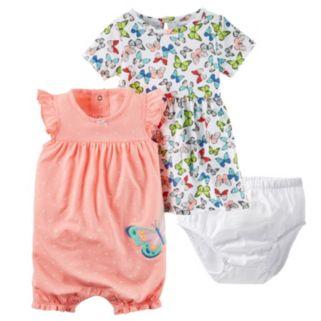 Baby Girl Carter's Butterfly Dress & Polka-Dot Sunsuit Set