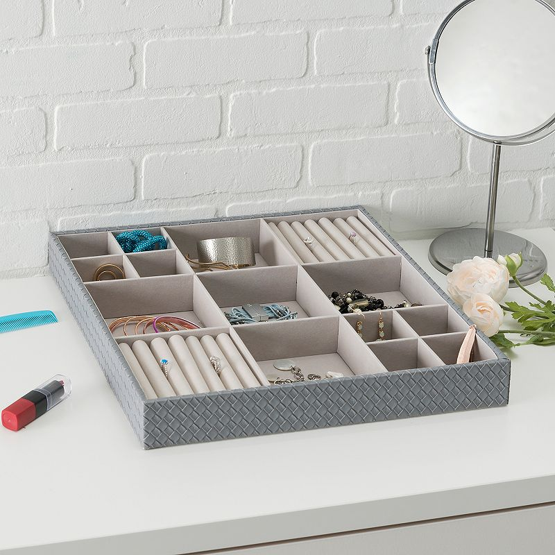 Home Basics 15 Compartment Jewelry Organizer, Black Store all of your favorite jewelry in one place with this Home Basics 15 compartment jewelry organizer. Features 2'' x 15'' x 15'' Free standing Matte finish Construction & Care MDF Wipe clean Size: One size. Color: Black. Gender: Unisex.