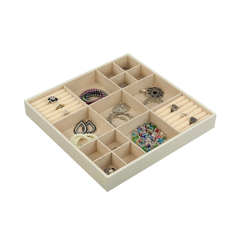 Home Basics 15 Compartment Jewelry Organizer, Beig/Green Store all of your favorite jewelry in one place with this Home Basics 15 compartment jewelry organizer. Features 2'' x 15'' x 15'' Free standing Matte finish Construction & Care MDF Wipe clean Size: One size. Color: Beig/Khaki. Gender: Unisex.