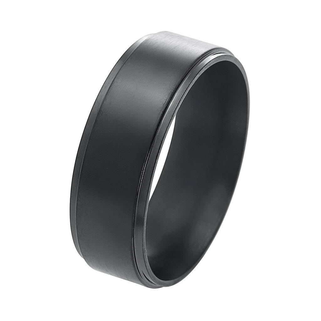 1913 Men's Black Stainless Steel Ring