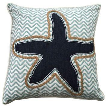 Coastal Shell Denim & Rope Applique Throw Pillow