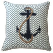 Coastal Anchor Denim & Rope Applique Throw Pillow