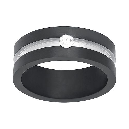 1913 Men's Two Tone Stainless Steel Cubic Zirconia Ring
