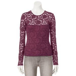 Juniors' Mudd® Lace Long-Sleeve Top