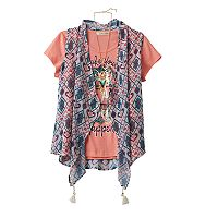 Girls 7-16 Self Esteem Ombre Sheer Vest & Graphic Tee Set with Necklace